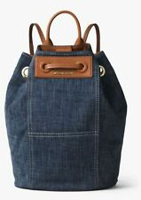 NWT MICHAEL KORS KRISSY Large Backpack CANVAS Leather INDIGO Blue $228