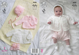 f5f49451a50f Knitting Pattern Baby Matinee Coat Cardigan Bonnet Bootees King Cole ...