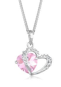Herz Halskette Rosa 925er Silber Swarovski® Kristalle Echtschmuck Elli