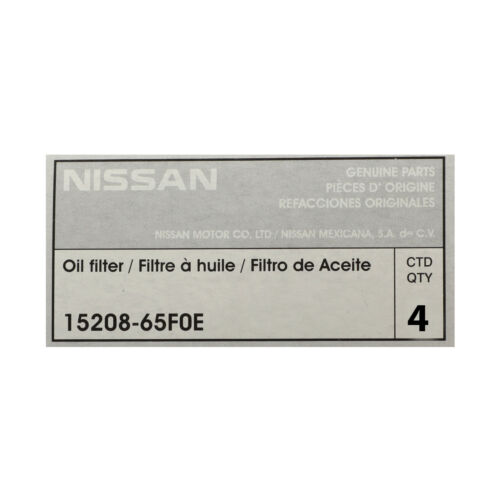 NEW GENUINE FACTORY Nissan Oil Filters Pack of 4 OEM 15208-65F0E Maxima Altima