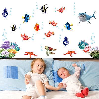 Sea Animal Ocean Fish Shark Wall Stickers Bath Room Kids Wall Decals Mural Decor