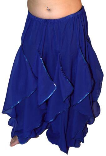 BLUE ENDLESS WAVE HAREM PANTS CHIFFON /& SILVER SEQUINS for BELLY DANCE