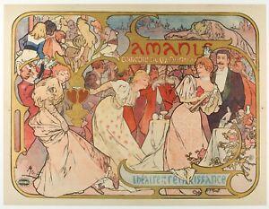 Original-Poster-Alphonse-Mucha-Les-amants-BERNHARDT-Art-Nouveau-1895