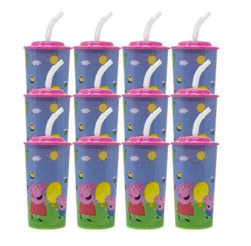 12PC PEPPA PIG 16OZ PP SPORT TUMBLER W//LID AND STRAW PARTY FAVOR SUPPLIES
