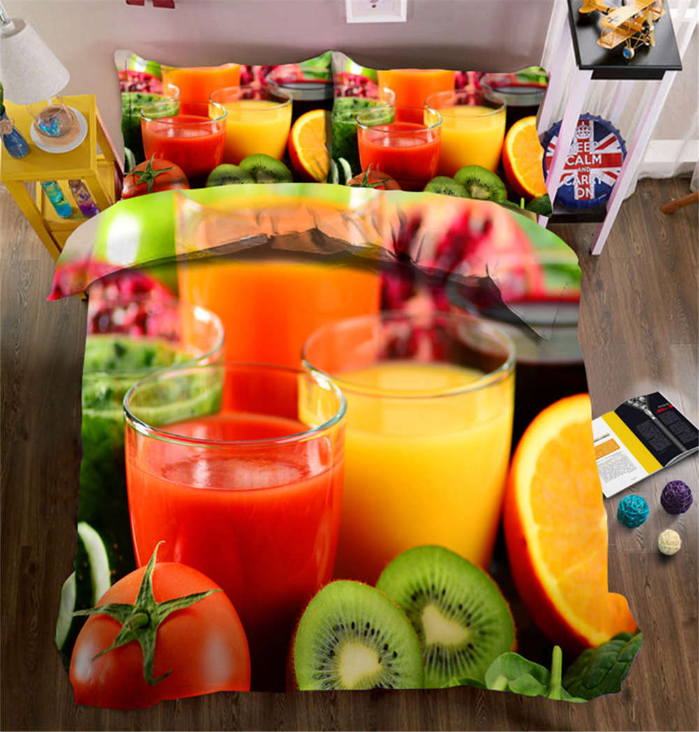 Squeezed Juice 3D Printing Duvet Quilt Doona Covers Pillow Case Bedding Sets
