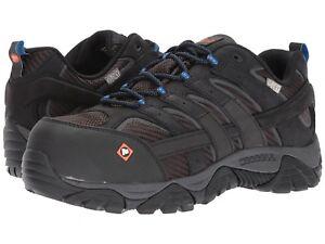 Merrell Men's Moab 2 Vent Waterproof Composite Toe Work Shoes, J15777 - Black