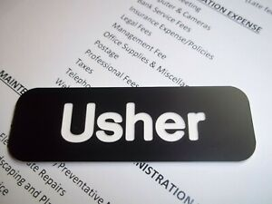 Details about 10 Black with White Letters Engraved Usher Name Tags Church  Badges Pin Back