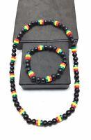 Rasta Necklace & Bracelet Set Reggae One Love Color Marley Jamaica Chain