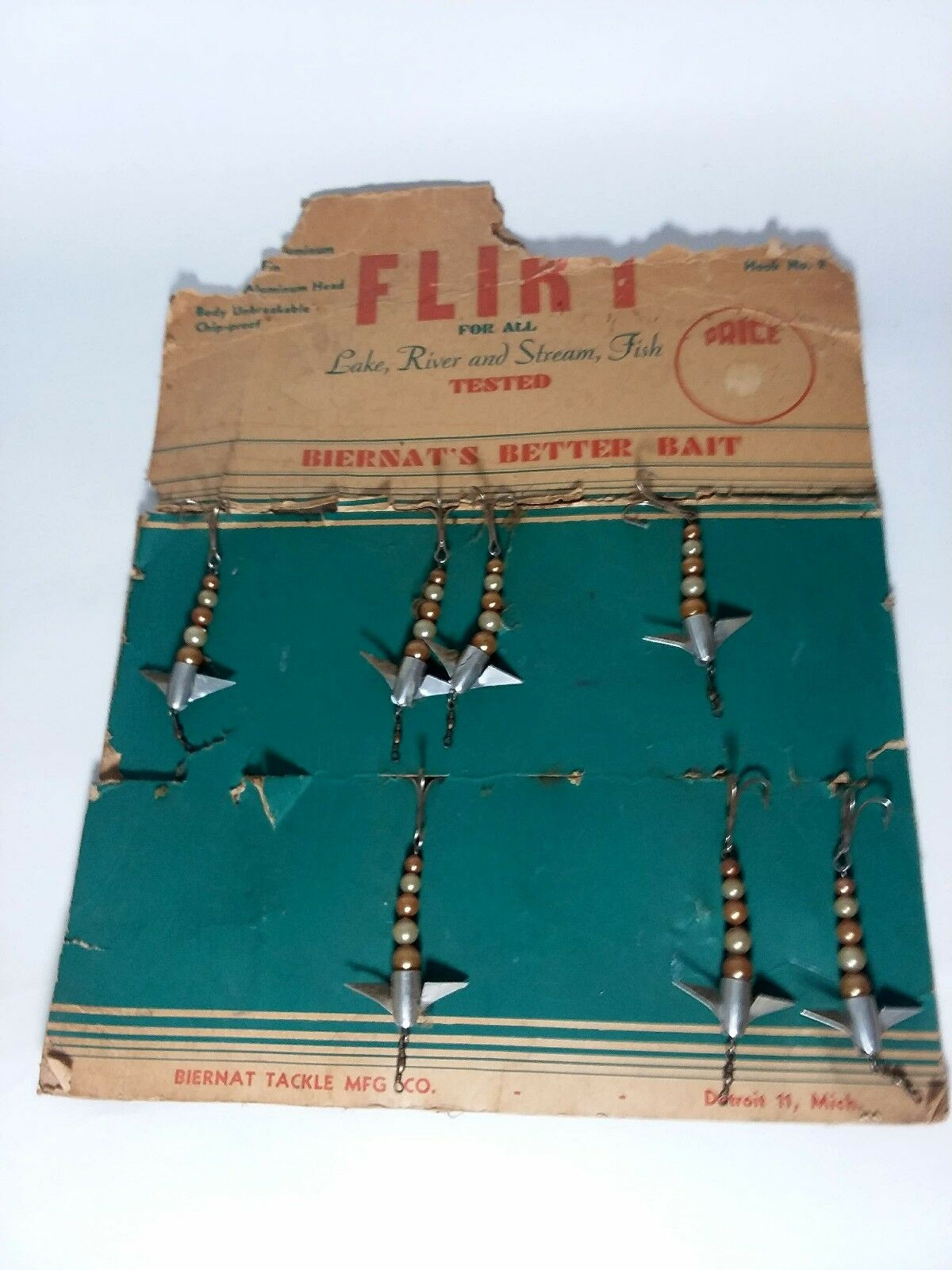 Vintage Flirt Beirnuts Better Baits Dealer Display Card With 7 Lures Still On...