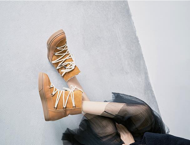 Piel De Cordero Para Mujer y Dama de Moda De Cuero Con Cordones Zapatos botas De Nieve Invierno Cálido Sea1