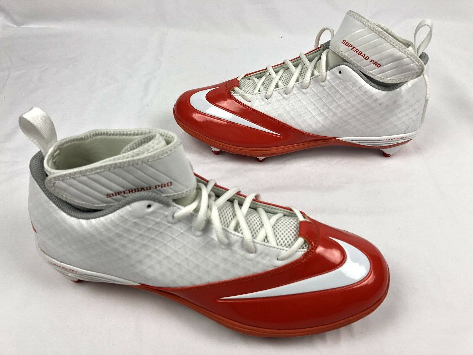Nike Lunar Superbad Pro TD Mid Mens Football Cleats 511328 116 orange White 14