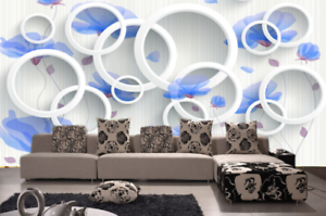 3D bluee Petal Circle 8 Wall Paper Murals Wall Print Wall Wallpaper Mural AU Kyra