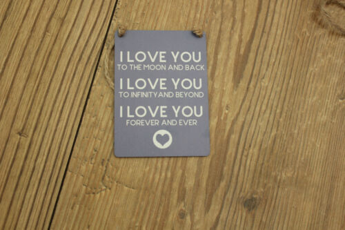 LOVE YOU TO THE MOON AND BACK METAL MINI DANGLERS .CHOICE OF TWO