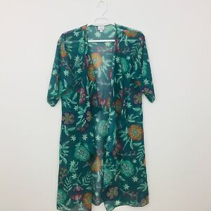 Shirley-lularoe-Cardiga-Feminino-Tamanho-M-Quimono-Animais-Transparente-Multicor-Floral