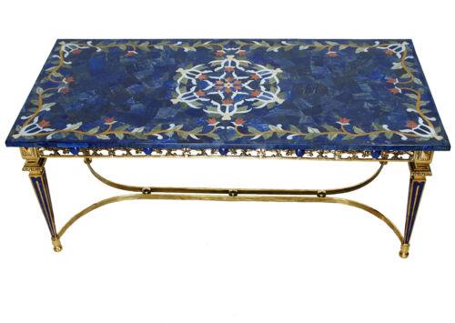 120x60 cm Lapis Lazuli Pietra Dura CouchtischTisch table wohnzimmertisch Messing