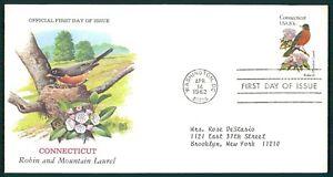 États-unis Fdc 1982 Oiseaux & Plantes Conneticut Oiseau Birds Bird Plant Oiesaux Cl72-afficher Le Titre D'origine