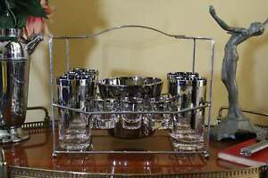 Vintage-Set-of-Silver-Dot-Glassware-Tumblers-Shot-Glasses-Ice-Bucket-in-Caddy