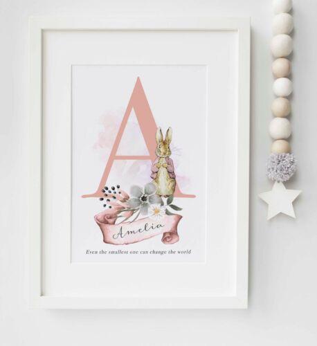 Peter Rabbit Beatrix Potter Personnalisé Nom Photo Nursery Imprimer sans cadre