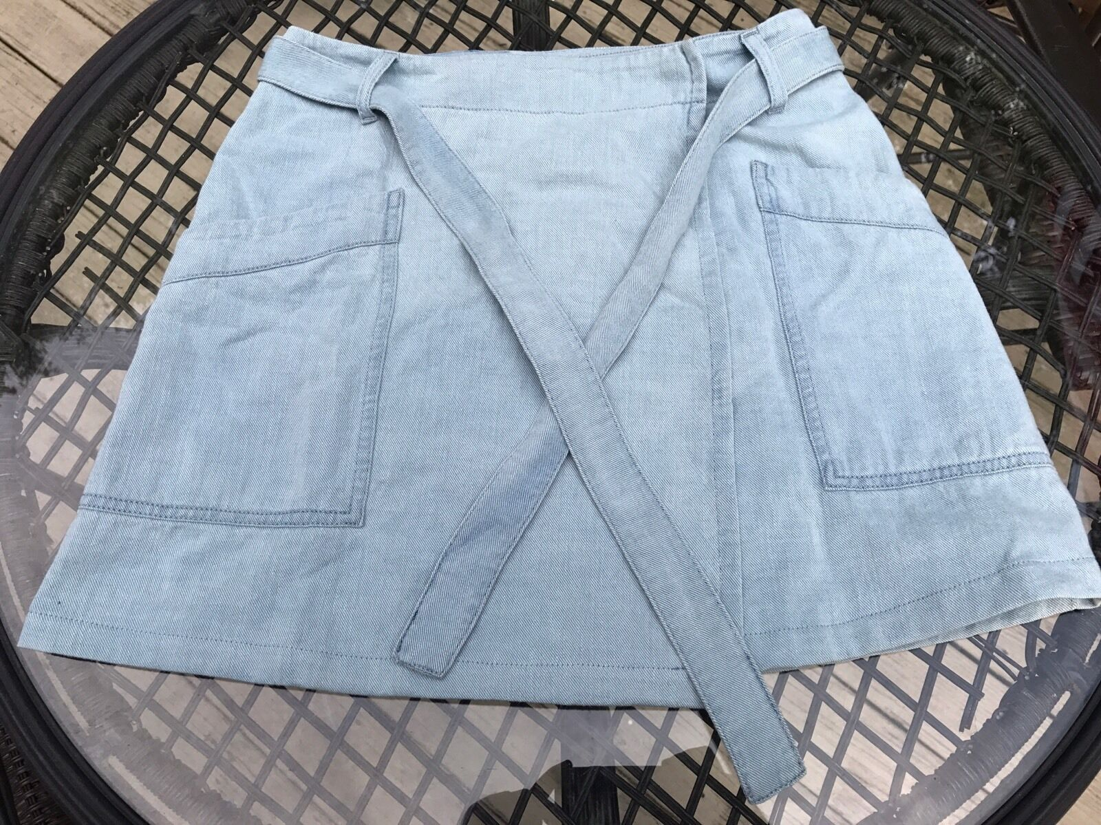 Madison Margiela MM6 Light Denim Skirt With Tying Belt bluee  Size 40 Womans