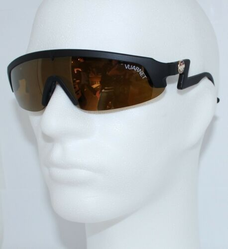 1 of 1 - NEW VUARNET FRANCE 80's RETRO BLACK SPORT CYCLING BIKING SUNGLASSES BROWN LENS