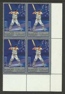 SHARJAH-1972-SPORT-CRICKET-1-Value-Lower-Right-Corner-BLOCK-4-MNH