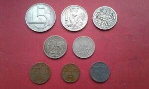 Czechoslovakia 8 oldest coins 2 haliere 1924 to 5 korun 1938