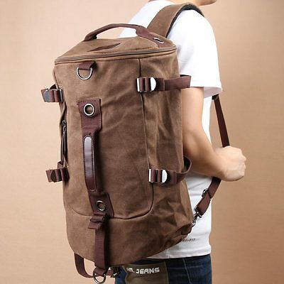 Chic Canvas Man Backpack Rucksack Bag Duffle Travel Outdoor Camp Large Coffee