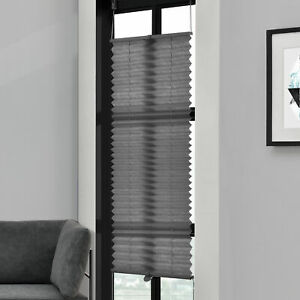 Pleated-75x125cm-Grey-No-Drilling-Roman-Blind-Window-Cover-Clamp-Mounting