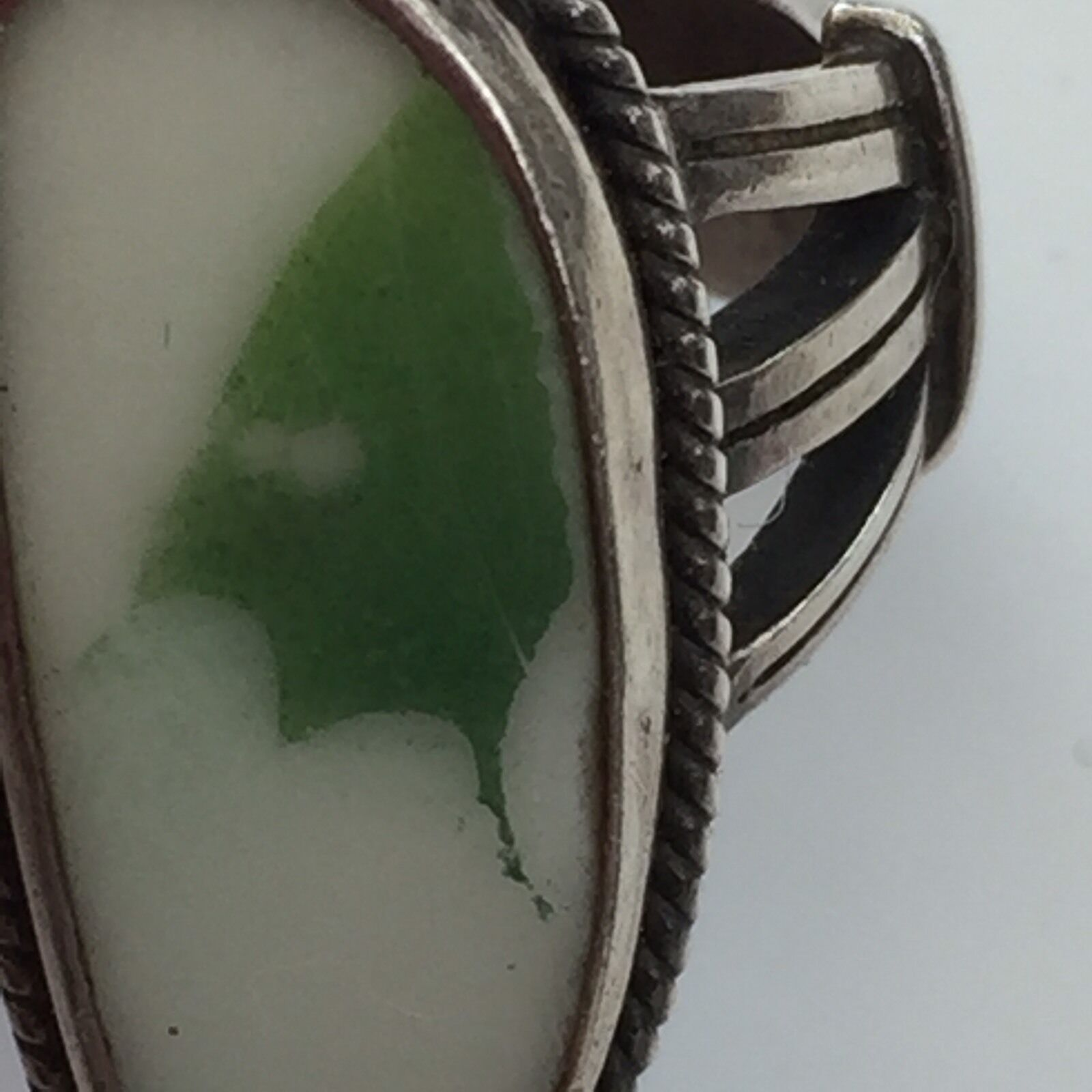 Vtg Southwestern Sterling Natural  Picture Stone Ring 1 1 2 L Green AccentStones