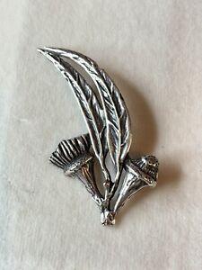 Sterling-Silver-Vintage-Thistle-Leaf-Brooch-Dandelion-14-62grams