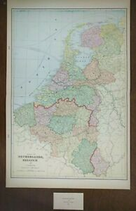 NETHERLANDS-BELGIUM-LUXEMBOURG-1900-Vintage-Atlas-Map-14-034-x22-034-Old-Antique