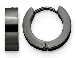 Stainless-Steel-Polished-Black-Plated-Hinged-Hoop-Earrings