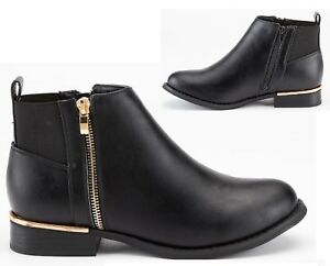 LADIES-WOMENS-BLACK-LOW-HEEL-FLAT-CHELSEA-GOLD-ZIP-UP-ANKLE-SHOES-BOOTS-SIZE-3-8