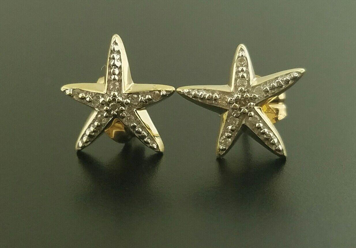 14K Yellow gold Stud Earrings With Diamonds
