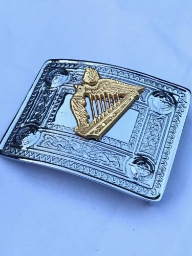 CC Scottish Kilt Belt Buckle Celtic Design Silver with Irish Harp Gold Badge
