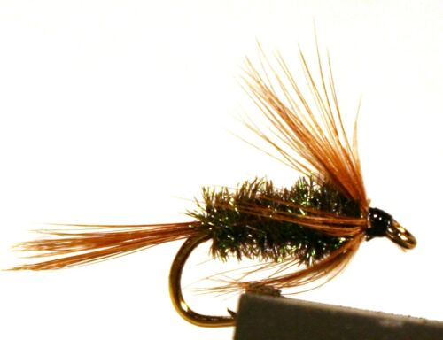 ICE FLIES Nymph. Brown hackle peacook. (4-pack). Available in size 8 - 14