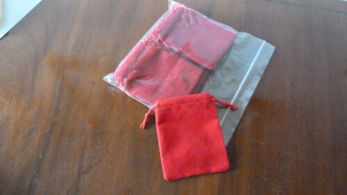 """Pack of 10 NEW 3.5/""""//9cm X 2.75/""""//7cm RED VELVETEEN GIFT POUCHES"""