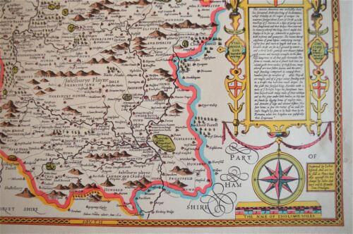 LOVELY VINTAGE REPLICA  JOHN SPEED MAP OF WILTSHIRE CIRCA.1610 STONE HENGE