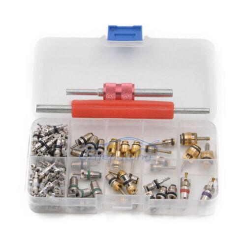 102 pcs Assortment A//C Shrader Valve Core Tool 4 HVAC R134a//R12//R22 Kit 11kinds
