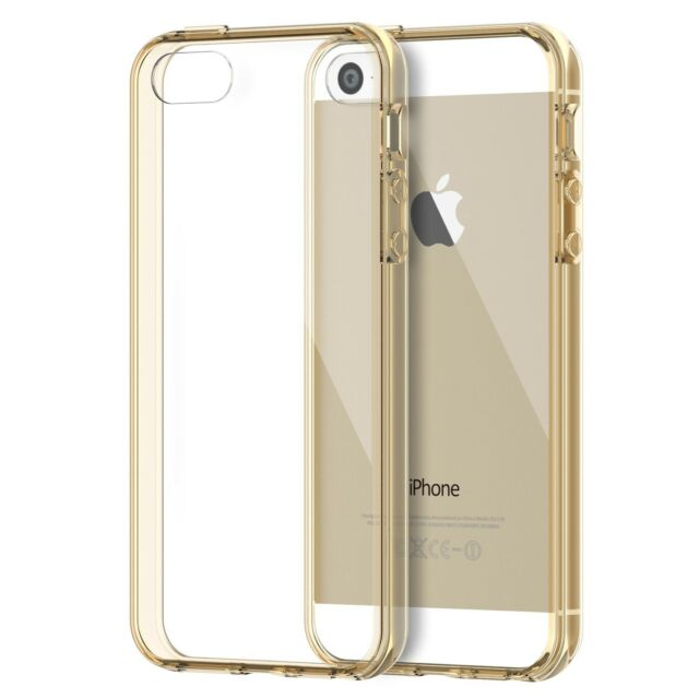 brand new 81489 e7711 JETech SE 5s 5 Shock Absorption Bumper Clear Back for iPhone SE Case Gold