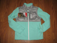 Girl's The North Face Green Grey Fleece Glacier Jacket Sz 7/8