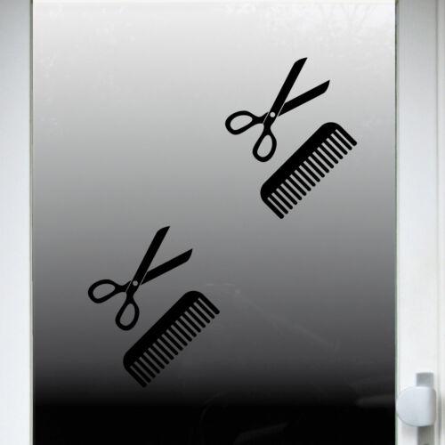 4 Aufkleber Tattoo 15cm schwarz Schere Kamm Auto Deko Folie Friseur Haarstudio