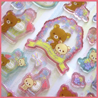 San X Japan Rilakkuma elegant sweet happy days Thick Clear Plastic Sticker 1pc