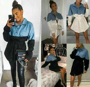 Women Ladies Long Sleeve Plain Collared Button Tailored Longline Shirt Dress Top