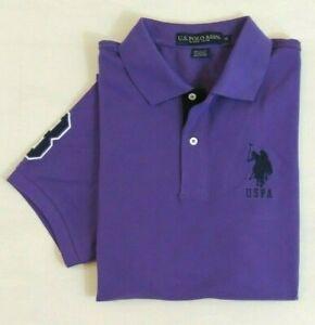 US-Polo-ASSN-Big-Pony-Short-Sleeves-Striped-Collar-Classic-Mesh-Shirt-M-L-XL-XXL