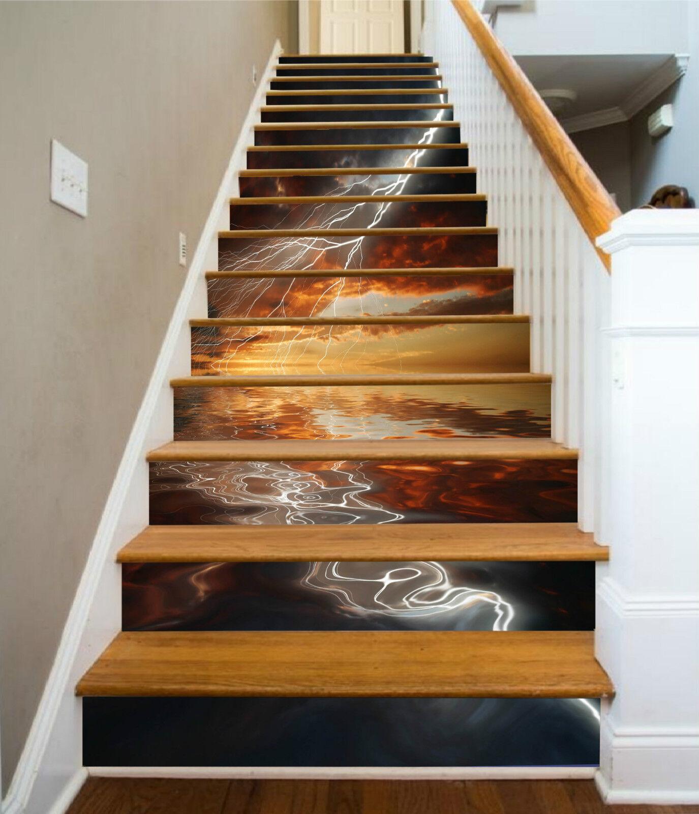 3D Meer Blitz 065 Stair Risers Dekoration Fototapete Vinyl Aufkleber Tapete DE