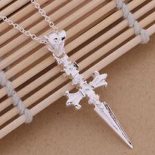 Collana Catena Croce Crocifisso Ciondolo Gotico Uomo Placcato Argento Sterling 925