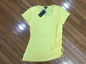 NWT-Jones-New-York-Women-s-Yellow-Top-Blouse-Ruched-Side-Tie-Sz-XL-MSRP-49