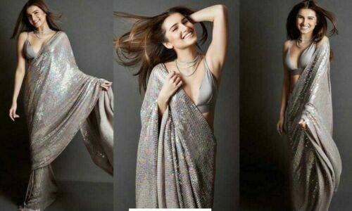 Bollywood Indian Party Wear Georgette Sequence Saree Wedding Pakistani Sari JB