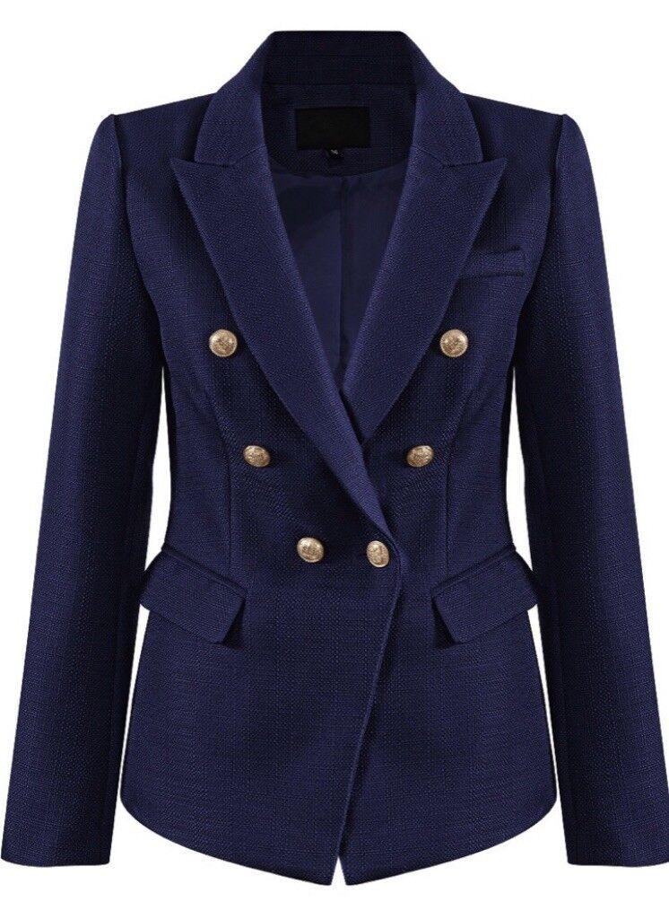MARINE Inspiration Designer Natte Double Breasted Blazer Taille 12